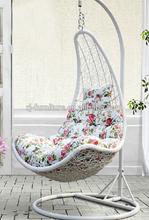 Hanging poly rattan/cane Iron frame rocking chair/Outdoor patio garden balcony swing