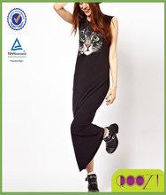 Black Sleeveless Cat Face Printed Polyester Women Dress