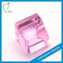 Synthetic light rose color uncut cube corner cut loose diamonds
