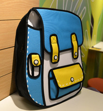 2014 Fashion Korean Style Blue and Yellow 3d cartoon bags/3d school bag/2d anime school bags and backpacks