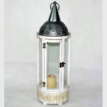 Metal and Wood Candle Lantern