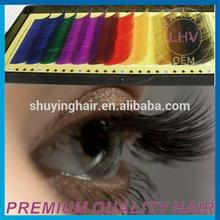 Wholesale premium 100% human hair eyelash,0.07mm colorful mink eyelashes/false eyelashes with private label packaging