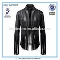 ordens de vestuário mulher deslumbrante franja jaqueta de couro por atacado