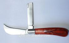 3Cr13 stainless steel material blade kniv wood handle pocket knife folding knife custom logo farm tool for 2014