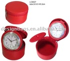 cover with pu Travel clock,holiday gift,leather craft