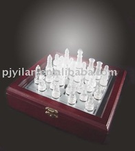 nice clear elegant crystal international chess for craft art gift