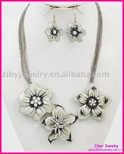Silvertone / Black & White / Epoxy & Rhinestone Accents / Lead Compliant / Flower Theme / Multi Row Necklace & Fish Hook Earring