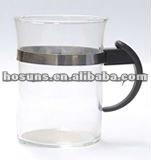 Glass coffee mug with plastic handle 220ml