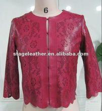 ladies lazer burnout flower red sheep leather coat shorts coats