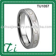 TU1057 Polished Diamond Inlay Tungsten Female Ring