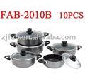 10 piezas de negro al por mayor de aluminio olla de cocción con recubrimiento antiadherente