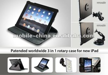 vehicle-mounted leather case for new iPad 3 with car window holder and back seat holder