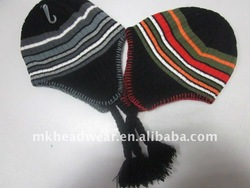 Winter Fashion Girls Knitted Earflap Hat with stripes pattern