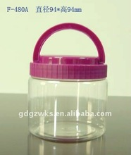 480ml Round PET Food Storage Container with Handle Lid
