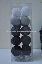 christmas lights : 20 Dark grey tone cotton ball christmas lights & string lights for Wedding, Party and Christmas Decoration