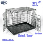 "31"" Two Door Folding Heavy Duty Metal Kennels for Dogs"