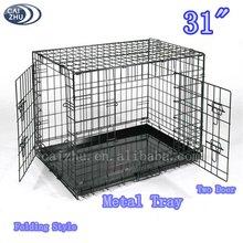 """31"""" Two Door Folding Heavy Duty Metal Kennels for Dogs"""