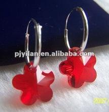 great rose flower shape red crystal earrings