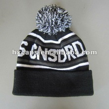 Snowflake ski winter knitted beanie hats and caps customed with pompom