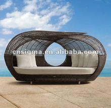 Wicker outdoor SPARTAN black outdoor luxury unique round beds