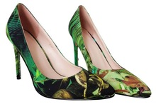 KDA-15069 2014 new fashion ladies shoes silk upper /office lady high heel shoes