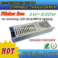 5050 3528 LED strip/MR16 12V 24V constant voltage led dimmable driver Triac/0-10V/DALI dimming no flicker
