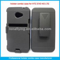 Black combo belt clip holster case for HTC EVO 4G LTE