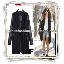 Ladies ZA PU LEATHER SLEEVE+ WOOL Blazer Jacket COAT TRENCH PARKA