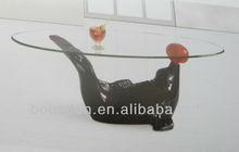 Wooden Dolphin Shape Base Coffee Table BSD-351065