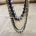 de moda negro delicada cadena de oro con cuentas collar africano