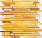Yellow Crystal Glass Mosaic Tile, Kitchen Glass Backsplash