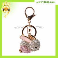 2013 Fashion lovely Rabbit Rhinestone Custom Keychain