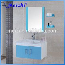 Blue color wall mounted bathroom vanity base cabinet