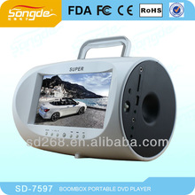 large capacity rechargeable battery 7.5''portable DVD player,portable evd player