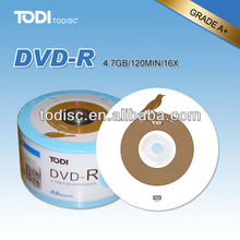 blank dvd media wholesale with 4.7GB/120MIN /16x/8x running speed factory disk on sale
