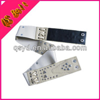 Ladies White Fashion Wide Stretch Sequin Beaded Belt