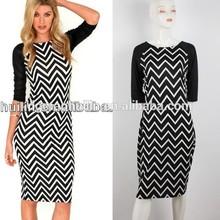 new arrival Chevron stripe print midi dress china supplier