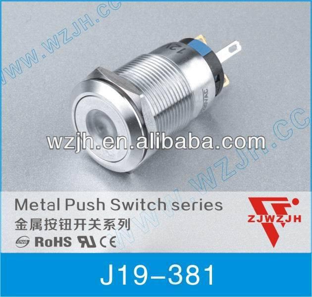 19mm anti-vandal waterproof latching dot LED illuminated switch