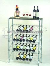 DIY 5 Tiers Chrome Metal Slanted Wine Rack , NSF Approval