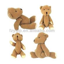 stuffed plush tedy bear toys, brown movable bear doll for kids
