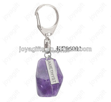 Fashion Natural Amethyst Key Chain Pendant