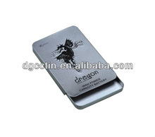 CC sliver rectangular bulk cigarette tobacco metal tin box with sliding lid