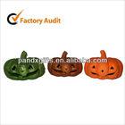 scary large elliptical glittered orange foam pumpkin head for halloween party