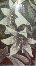 Glass mosaic flower design for home decoration, stone mosaic tile mural