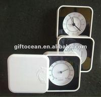 analog folding thermometer & hygrometer clock, promotion weather station Alarm Clock