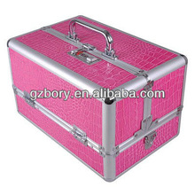Beauty Makeup Cosmetic Jewelry Train Case Box Pink Aluminum Lockable Travel Bag