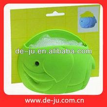 Wholesale Green Fish Shape Fashion Plastic Sucker Bath Sponge Dish