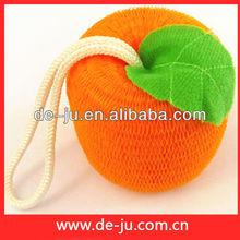 Promotion Lovely Orange Shaped Bath Ball Fruit And Leaf Baby Mesh Sponge