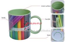 Eco-friendly 3D color polymer mug/ Factory directly sublimation polymer mug/ Cheap blank mugs