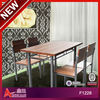 2013 New Style melamine 4 seater bistro set / used restaurant table and chair